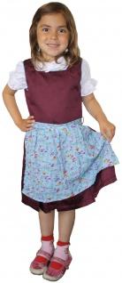 3-tlg Kinder Dirndl Mädchendirndl Dirndlbluse Dirndlschürze Kleid Bordeaux/Blau - Vorschau 1