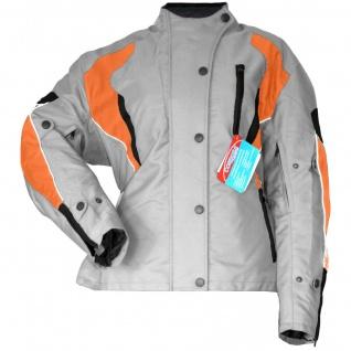 Damen Motorradjacke Textilienjacke Grau Orange