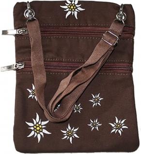 Trachtentasche Dirndl Tasche mit Edelweiss Trachten Baumwolltasche Dunkelbraun