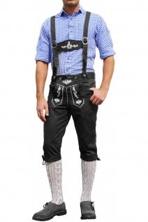 Trachten Kniebundhose Oktoberfest Jeans Hose mit Hosenträgern Schwarz