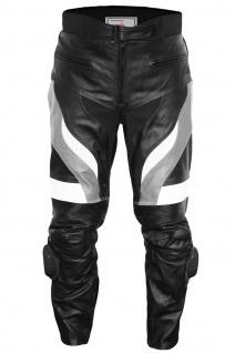 German Wear, Motorradhose Motorrad Biker Racing Lederhose Schwarz/Grau