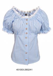 Carmenbluse Trachtenbluse Damen Trachten lederhosen-bluse Trachtenmode Hellblau kariert