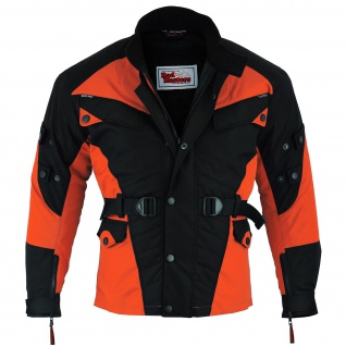 Motorradjacke Cordura Textilien Orange/Schwarz - Vorschau 2