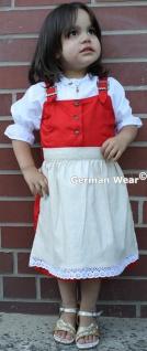 3-tlg Kinder Dirndl Mädchendirndl dirndlbluse dirndlschürze kleid Rot/weiss - Vorschau 2