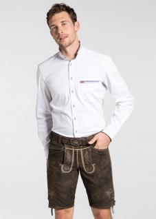 Trachten Herren Lederhose Veit 134-H kurzhose mit Gürtel Ziegenvelour Stickerei - Vorschau 2