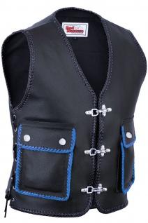 Leder Motorrad Kutte Karabiner Lederweste Bikerweste Motorradweste Schwarz/Blau geflochten
