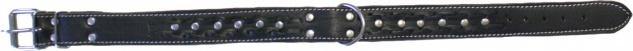 Hundehalsband aus echtem Leder 55-64cm in schwarz