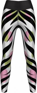 Zebra Leggings sehr dehnbar für Sport, Yoga, Gymnastik, Training, Tanzen & Freizeit schwarz/weiß/grün/rosa