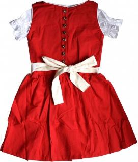 3-tlg Kinder Dirndl Mädchendirndl dirndlbluse dirndlschürze kleid Rot - Vorschau 2