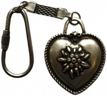 german Wear, Schlüssel anhänger aus Metall, herzform, oval, mit Edelweiß