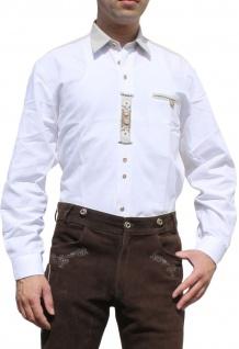 German Wear, Trachtenhemd für Lederhosen Trachtenmode wiesn mit Verzierung weiß