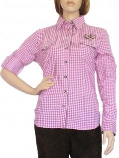 Trachtenbluse Damen Trachten lederhosen-bluse Trachtenmode violett kariert