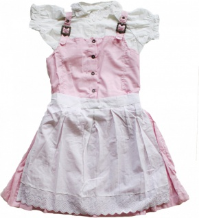 3-tlg Kinder Dirndl Mädchendirndl Dirndlbluse Dirndlschürze Kleid Rosa