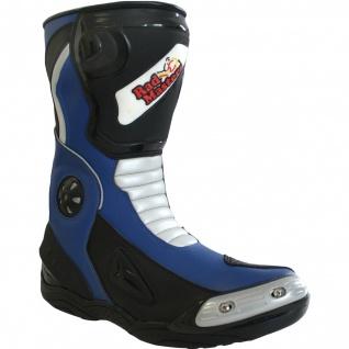 German Wear, Biker Motorradstiefel Motorrad Sport Touring Stiefel Schwarz/Blau 32cm