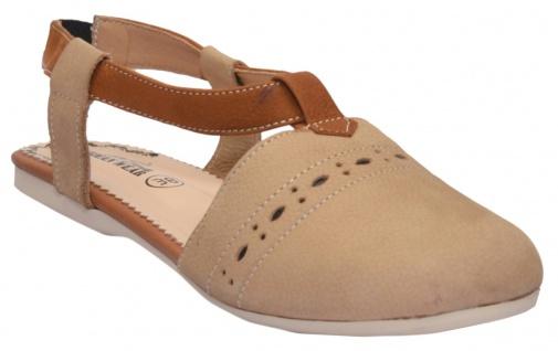 German Wear, Geschlossene Sandale aus echtem Leder Trendschuhe Beige/Kastanienbraun