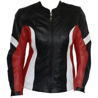 German Wear, Damen Lederjacke Motorradjacke aus Rindsleder Kombijacke Schwarz/Rot