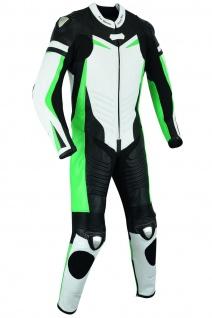 Fluoreszierender Einteiler Motorradkombi Motorrad Lederkombi aus Rindsleder echtleder Kombi Grün - Vorschau 2