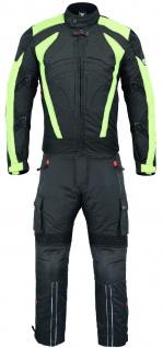 Motorradkombi Textilien motorradjacke + Motorradhose Schwarz, Grün & Orange inkl. alle Protektoren - Vorschau 2