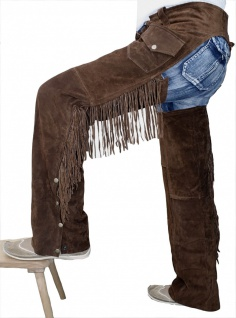 German Wear, Chaps Fransenhose Cowboy Indianer Western Lederchaps D.Braun