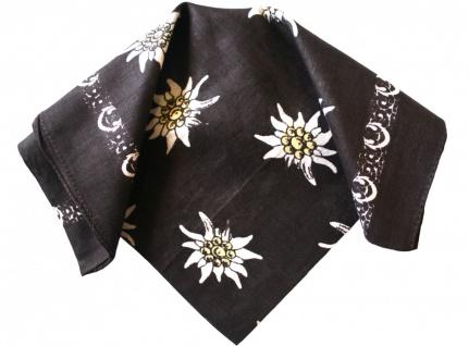 Halstuch Trachtentuch mit Edelweissmuster nikituch 54x54cm dunkelbraun