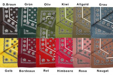 Halstuch Trachtentuch Edelweiss-muster nikituch aus Seide, 52x52cm, 12x Farbtöne