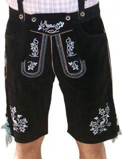 Miesbacher kurze Trachten Lederhose mit Hosenträger Trachtenhose Schwarz/Silber - Vorschau 1