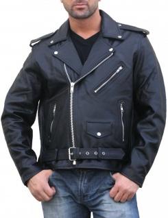 Motorrad-lederjacke Rindsleder Rockabilly Rockerjacke Chopper Brando