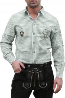 German Wear, Trachtenhemd für Lederhosen mit Verzierung grün/gestreift