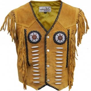 GermanWear, Western-Lederweste Indianer Tracht Weste Reiter weste ocker