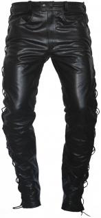 Lederhose lederjeans bikerjeans aus Büffelleder glasiert Dunkelbraun seitlich geschnürt