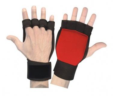 Fitness Neopren Grips Handschuhe Gewichtheben Bodybuilding Gelpads Workout Training rot/schwarz