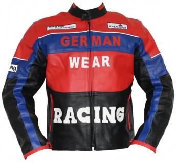 German Wear, Lederjacke Motorradjacke Rindsleder Motorradlederjacke Blaurot/Schwarz