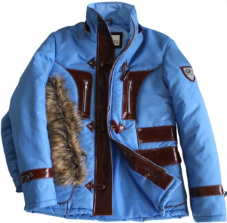 German Wear, Damenjacke Jacke mit aufgenähten Lederstreifen Azurblau