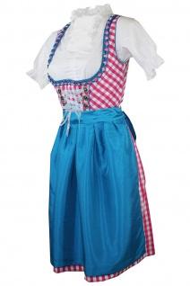 1-teiliges Midi-Dirndl Landhaus Kleid ohne Bluse Dirndel Pink kariert - Vorschau 2
