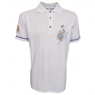 German Wear, Trachten Poloshirt T-shirt weiß mit kleinem Aufdruck und blauer Naht - Vorschau