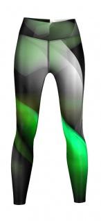 Glow Leggings sehr dehnbar für Sport, Yoga, Gymnastik, Training, & Freizeit schwarz/grün