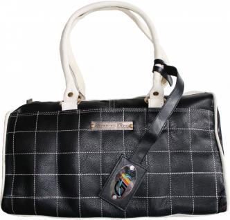 Damen Lederhandtasche Ledertasche Handtasche Tasche Tragetasche echtleder schwarz/weiß