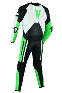 Fluoreszierender Einteiler Motorradkombi Motorrad Lederkombi aus Rindsleder echtleder Kombi Grün - Vorschau 4