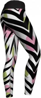 Zebra Leggings sehr dehnbar für Sport, Yoga, Gymnastik, Training, Tanzen & Freizeit schwarz/weiß/grün/rosa - Vorschau 3