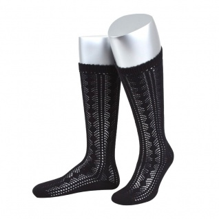 Damen Trachtensocken Trachtenstrümpfe Zopf Socken Schwarz