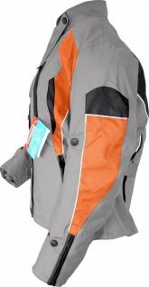 Damen Motorradjacke Textilienjacke Grau Orange - Vorschau 3
