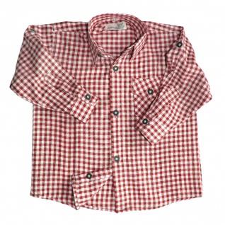 Kinder jungen Trachtenhemd für Trachtenlederhosen Oktoberfest Rot/karo - Vorschau 2