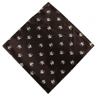 German Wear, Halstuch Trachtentuch mit Edelweissmuster nikituch 60x60cm braun