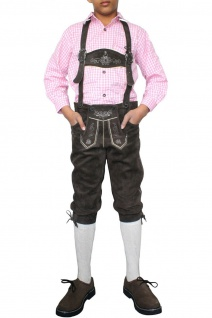 Jungen Kniebundhosen Leder Trachtenhose mit Hosenträgern - Vorschau 2
