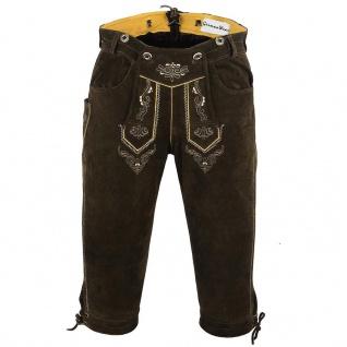 German Wear, Trachten Lederhose Kniebundhose trachtenhose mit Hosenträger Braun