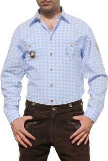 German Wear, Trachtenhemd für Lederhosen mit Verzierung blau/kariert