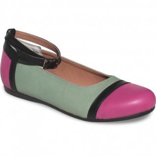 German Wear, Ballerinas Lederschuhe aus Glattleder in grün/pink/schwarz