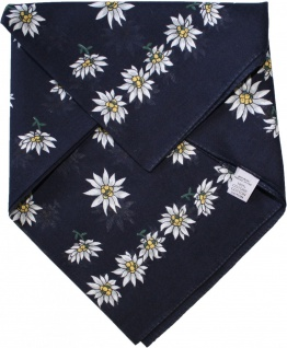 German Wear, Halstuch Trachtentuch BAUMWOLLE Edelweissmuster nikituch 50x50cm dunkelblau