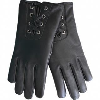 German Wear, Damen Lederhandschuhe Handschuhe Lammnappa echtleder Lamm-Nappaleder schwarz