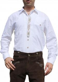 German Wear, Trachtenhemd für Lederhosen mit Verzierung weiß